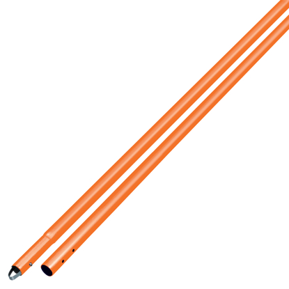 "Picture of 6' Orange Powder Coated Aluminum Swaged Button Handle - 1-3/8"" Diameter"